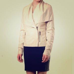 VINCE. PAPER LEATHER MOTO ASYMMETRICAL JACKET